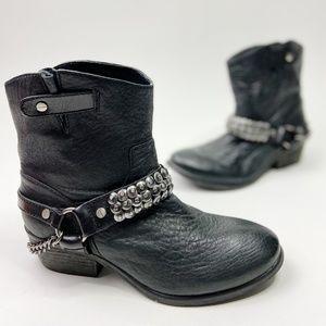 Gianni Bini Black Leather Moto Stud Boots
